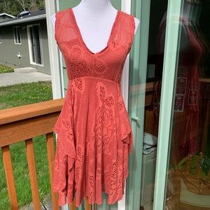 Free people v neck lace open back tie dress small